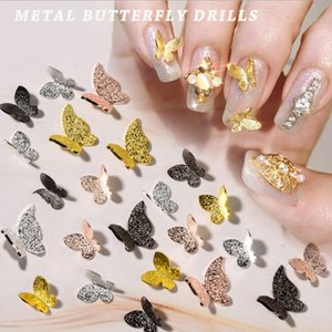 10pcs / Lot Metal Gliter Butterfly Nail Art Decoration Rose Gold / Silver/Black Alloy Jewely UV Gel Polish Manicure Superies
