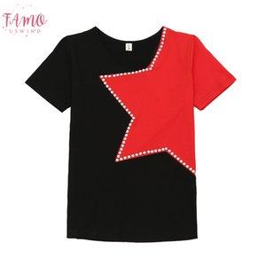 Patchwork Star Diamonds O Neck Tshirt 2019 New Summer Women Top Clothes Shirt Camiseta Mujer Shirt High Street T94905l