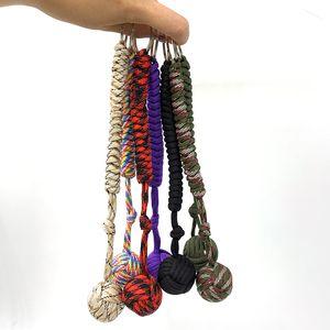 Outdoor corda ombrello essenziale accessori corda intrecciata catena chiave ombrello corda catena tessuta multi-funzionale dispositivo di difesa palla d'acciaio