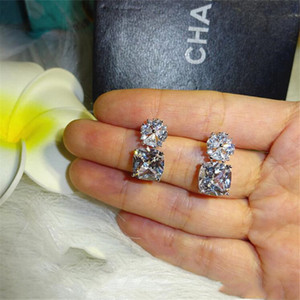 New Arrival Bridal Dangle Earring Deluxe Jewelry 925 Sterling Silver Cushion Shape White Topaz CZ Diamond Gemstones Women Drop Earring Gift