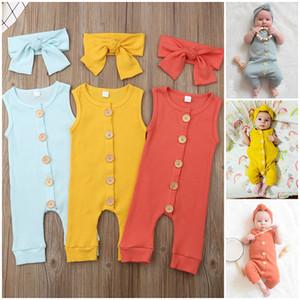 Kinder Kleidung, Mädchen, Junge Ärmel romper + Bogen-Stirnbänder Neugeborenen 2020 Jumpsuits Säugling Buttons Sommerbaby-kletternde Kleidung Z0626