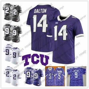 NCAA TCU Boynuzlu Kurbağalar # 5 LaDainian Tomlinson 9 Josh Doctson 14 Andy Dalton 2 Jason Verrett Trevone Boykin Beyaz gri mor Futbol Forması