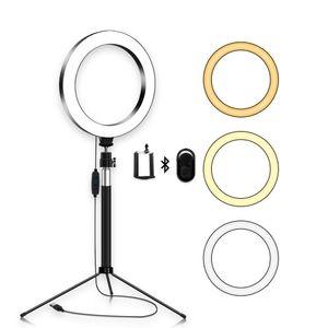 """ترقية LED حلقة ضوء 8 """"مع صورة شخصية عصا للفيديو يوتيوب وماكياج، ميني كاميرا سطح المكتب الخفيفة حامل حامل الهاتف الخليوي"""