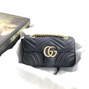 Cuero clásico Negro Oro Plata Venta caliente de la cadena 2019 nueva de las mujeres bolsos de los bolsos de mano Bolsas Bolsas Mensajero Tamaño: 23cm * 14cm * 6cm 44674402