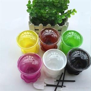 Kunststoff-Blumentopf-Kuchen-Becher Runde mit Deckel Löffel Mousse Eisbecher Verschleißfeste Baking Pastry Tools Portable 0 75jm BB