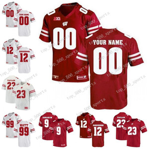 NCAA Wisconsin Badgers personnalisé College Football Jersey 12 Alex Hornibrook 36 Hunter Johnson Taiwan Mark affaire Saari Wisconsin Badgers Jersey