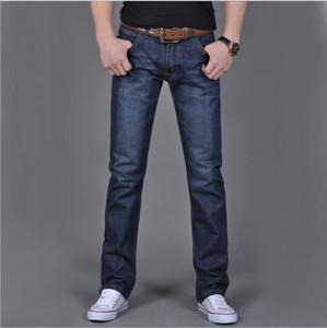 ClassDim Erkekler Düz Denim Jeans Lacivert Katı Uzun Jeans Yeni Moda Erkek Klasik Stil Denim