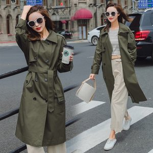 New 2020 Autumn Women Casual Simple Classic Trench Coat with Belt Female Windbreaker Manteau Femme Hiver Army Green Outwear