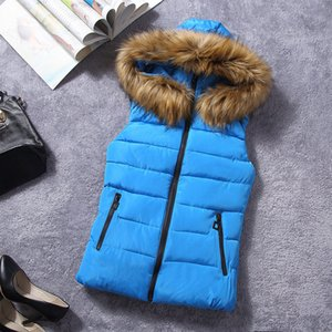 Inverno Vest Crianças Jacket meninas Brasão de Down casuais algodão com capuz grande virgens pele Coletes colete crianças Moda Casacos