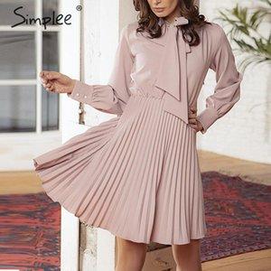 Simplee Vintage solide femmes robe rose bureau élégante dame robes casual manches longues robes printemps femme de soirée courte vestidos