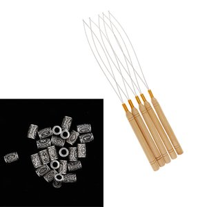 5pcs Hair Extension Loop Needle Threader Crochet Hooks + 24Pcs Hair Tube Bead Dreadlock Braiding Jewelry Beard Hair Decor Accessories
