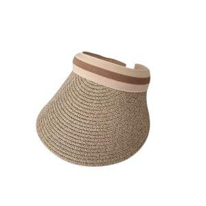 Cute Bow Sun Hat Female Beach Hat Wide Brim Straw Visor Hat Cap Summer Hats For Women Caps Sun Visor Girls Khaki
