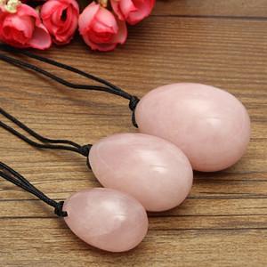 3 teile / satz Rosenquarz Kristall Eier Seil Yoni heilende Eier Massage werkzeug Becken Kegel Übung Vaginalen Anziehen Ball für Gesundheitswesen Werkzeug