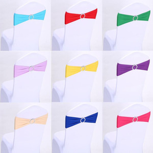 Wedding Chair Cover Sashes Elastic Spandex Chair Band Bow With Buckle Wedding Birthday Party Chair cover decoration 16 Colors DHL