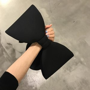 Frauen-Handtaschen-Bogen Tageshandtasche Damen-Abend-Partei Kupplungen schwarze Handtasche Schultertasche (schwarz)