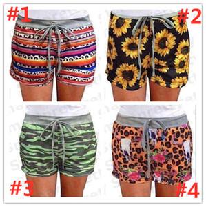 2020 Frauen-Sommer-Sport-Shorts Gym Yoga Fitness Pants Sunflower Camo Serape Drucken Drawstringgummiband Hosen Strand Shorts Bekleidung E31203