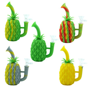 "7"" ananas fumant la pipe du tabac silicone uniques silicone Pipes Smoking Rig Cartoon Herb Pipe Cigarette Accessoires pour fumeurs de bongs"