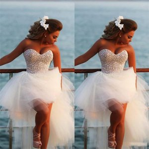 Fashion sweet heart tulle pearl beaded evening dresses white high low prom dress corset prom gown