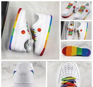 NIKE Nuovo arrivo 1 1s 07 cuscino suola taglio basso arcobaleno bianco designer scarpe casual piattaforma traspirante uomo donna scarpe 36-45