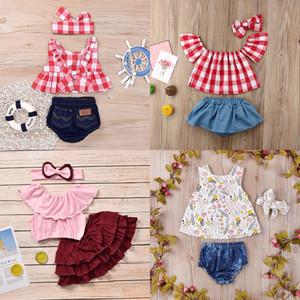 Baby-Kleidung Set Plaid-Rüsche-Weste Tops Shorts mit Stirnband-Drei-teiliges Set Baby-Kleidung-Kind-beiläufige Kleidung-Mädchen 0-5T 07