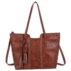 ASDS-Retro Tassel Women Bag Chain One Shoulder Big Bag Capacity Large Messenger Bags Lady Bag / Handbag Clutch Pur
