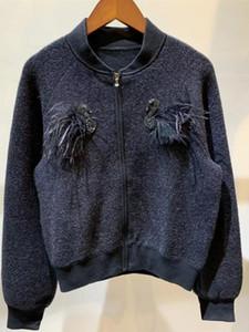 2019 de las mujeres chaqueta corta chaqueta de terciopelo con cuello de cuentas femaleO tridimensional cisne cremallera chaqueta de punto de punto superior outwear