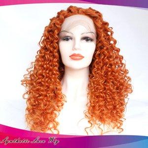 Veloce parrucca di Cosplay di colore anteriore del pizzo sintetico parrucca arancione Spedizione lunghi ricci parrucca anteriore del merletto parte libera di calore Fibre resistenti Glueless