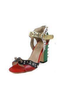 Frete grátis 2019 LTTL Marca Verão Malin Spike Sandálias De Couro Das Mulheres de Salto Alto Rebite Studded Sapatos Chunky Heel Colorblock Sandalias Mujer