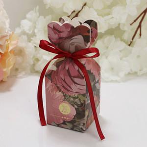 50pcs floral do favor do casamento Gift Box Doce bolo Bags festa de noivado