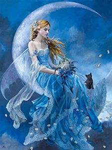 wholesale 5D Full Diamond Painting Blue moon angel Square Round Rhinestone Drill Hand Embroidery Home Art Decor Personalise Gift