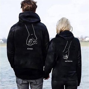 Couple Letter Print Matching Autumn Winter Long Sleeve Always Forever Hoodies Fashion Lovers Sweatshirts Hooded Fall Gifts