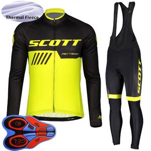 2019 남성 SCOTT 겨울 열 양털 자전거 긴 소매 사이클링 저지 턱받이 바지 정장 산악 자전거 의류 스포츠 의류 Y101801을 의상에