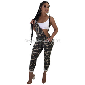 S-XL 2019 Mulheres Verão camuflagem Impressão Sexy Spaghetti Strap Bodycon Casual Partido Macacão Club Night Macacões Skinny