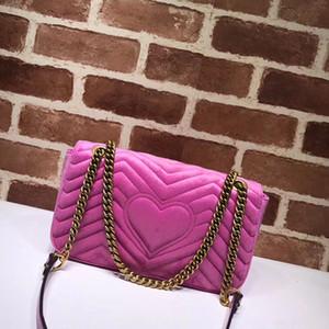 De lujo de diseño de moda para mujer Marmont terciopelo bolsos de cuero genuino de la cadena cuero Forro corazón cremallera bolsos de hombro del monedero de las señoras 443497