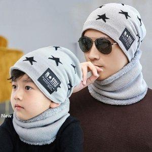 Winter Knit Beanie Scarf Set Pentagram adult kids Warm Soft Cap Balaclava Plus Velvet Thick Hat Bonnet Male LJJM2370