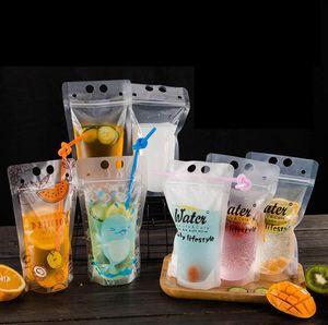 Bricolage dirnk auto-étanche boisson sac en plastique imprimé boissons jus Sac emballage Fruit scellé auto-Sac de rangement FFA357 Sacs en plein air