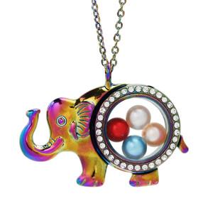 Muticolor Elephant vidro medalhão Pendant Bead pérola gaiola vivo Memória Flutuante Charms cadeia colar de pingente de strass Com inoxidável