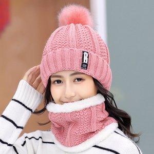 Ve For Women Girl Beanies Hat İçin Kız Halka Eşarp Pompoms Kış Şapka Moda Kış Kadın Şapka Eşarp Set Isınma