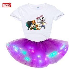 Малыш Baby Girls Clothing Set 2020 Summer T Shirt Kids Dress Детская одежда наряды 4Cat New 2Pcs Suit Tutu Dress Light LED