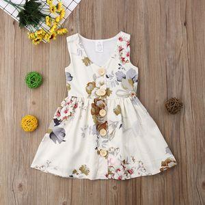 Baby Girls Floral Dress 2019 New Summer Kids senza maniche Flower Print Button Abiti Bambini Fashion Dress Abbigliamento