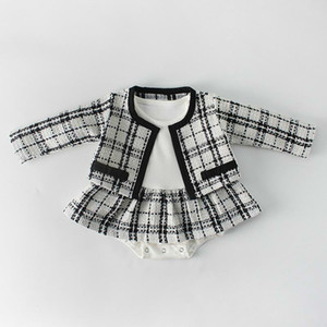 2019 Baby bodysuit Romper Sets Long Sleeved Plaid Cardigan Jumpsuit Suit 0-2T Girls Kids Clothes