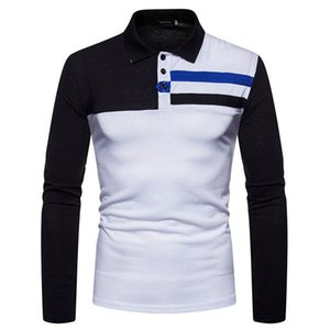 Simple Turn-down Collar Slim fit Striped Patchwork Men's T-shirts Casual Tshirt Homme Long Sleeve T Shirt Mans