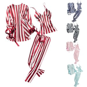 Women's Fashion Striped Pajamas Sleepwear Sexy Leisure Long Trousers Jurk Zijde Nightwear 3PC Set