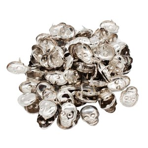 100 pack Silver Metal Skull Rivet Studs Leather Nailhead Sewing Craft Accessories