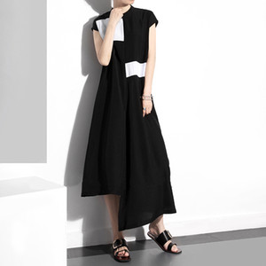 Womens Summer New Popular 2019 Black and White Color Matching Stand Collar Short Sleeve Dress Irregular Skirt 1333