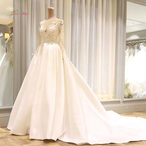 2019 Vestido De Noiva Long Sleeve Vintage Wedding Dresses 2018 Sexy Appliques Chapel Train Matte Satin Lace Bride Gowns
