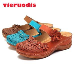 2020 Women'S Sandals Retro Floral Sweet Platform Shoes Woman Flat Sandals Ladies Pu Leather Sandalia Feminina Footwear Plus Size