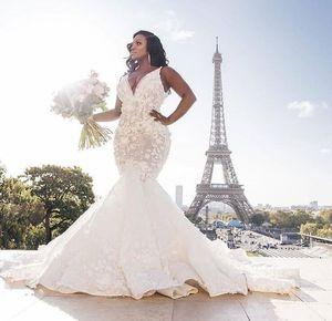African Plus Size 2020 Mermaid Wedding Dresses V Neck Lace Appliqued Beaded vestido de novia Bridal Gowns Wedding Dress