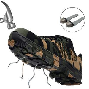 JACKSHIBO Мужская защитная обувь Стальной носок Защитные ботинки Плюс размер Мужские сапоги с защитой от прокола камуфляж chaussure de securite
