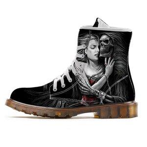 Botas personalizado para Shoes homens do crânio para Man esqueleto Bota Imprimir Combate Masculino Meia-perna Motos Botas 2020 New Style Shoes
